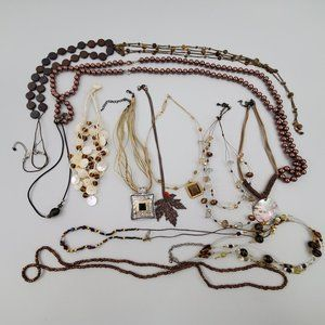 Jewelry - Brown Necklace Lot 13 Pieces Gold Tone Leaf Long B